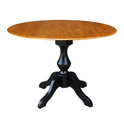 Jayson Round Dual Drop Leaf Pedestal Table Black/Cherry - International Concepts