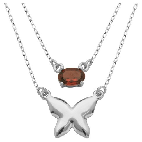 """Sterling Silver Genuine Garnet Layered Butterfly Necklace, 18+2"""" - image 1 of 1"""