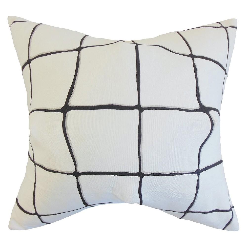 Bold Plaid Throw Pillow Black & White (20