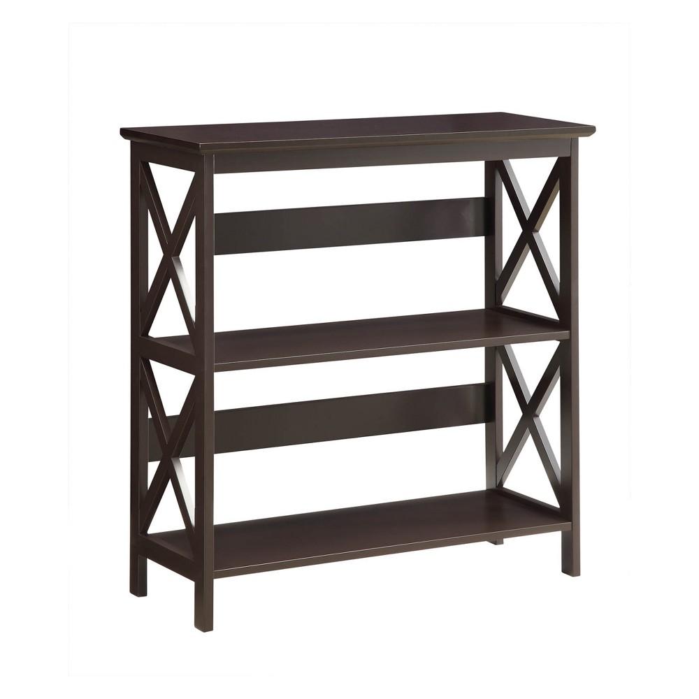 """Image of """"32.5 """""""" Oxford 3 Tier Bookcase Espresso Brown - Johar Furniture"""""""