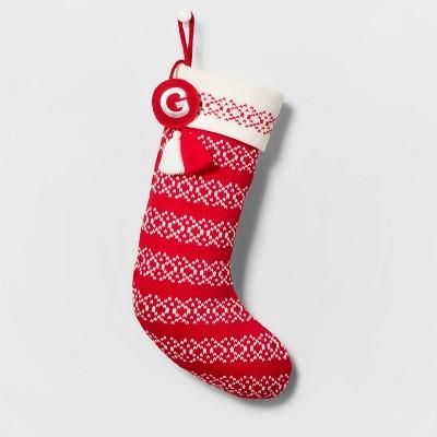 Knit Fair Isle Monogram Christmas Stocking Red/White - Wondershop™