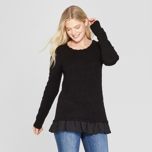 Women's Long Sleeve Pullover with Lace Detail - Knox Rose™ Black XXL - image 1 of 2