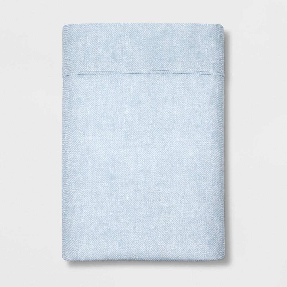 Queen 300 Thread Count Herringbone Ultra Soft Flat Sheet Light Blue - Threshold