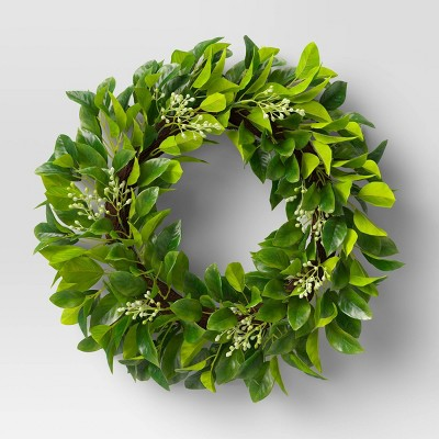 "21"" Artificial Leafy Wreath - Threshold™"