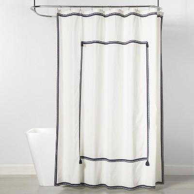Frame Border Shower Curtain Navy/White - Threshold™