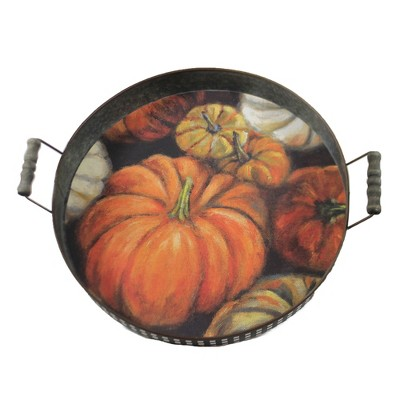 """Tabletop 15.5"""" Pumpkin Tray Fall Thanksgiving Serving Primitives By Kathy  -  Serving Platters"""
