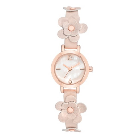 Women's Floral Strap Watch - A New Day™ Pale Blush - image 1 of 1