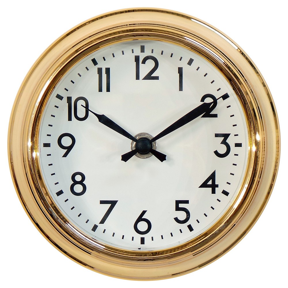 Schoolhouse 6 Table Clock Brass - Threshold