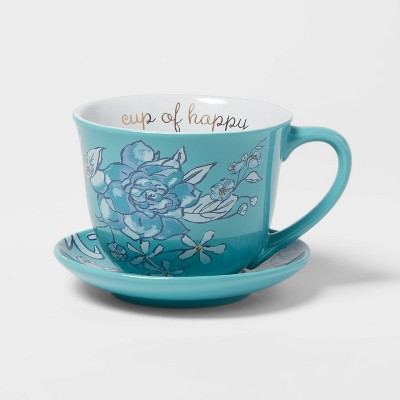 2pc Stoneware Cup of Happy Cup and Saucer Set - Opalhouse™