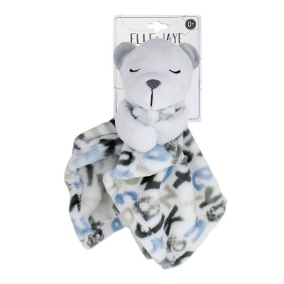 Elle & Jaye Security Blanket Blue Alphabet Bear with Arms Printed Lovey