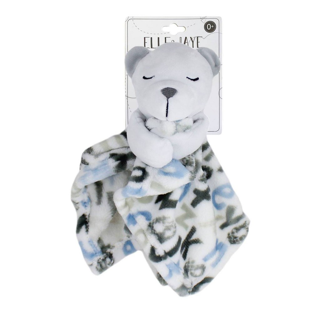 Image of Elle & Jaye Security Blanket Blue Alphabet Bear with Arms Printed Lovey