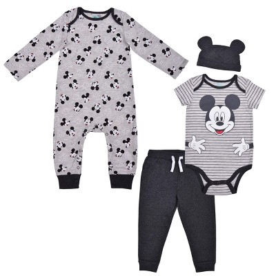 Disney Baby Boy's 4-Pack Unisex Mickey Mouse Creeper, Jumpsuit, Joggers and Cap with 3D Ears for Infants