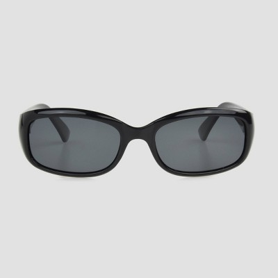 Women's Narrow Rectangle Sunglasses with Smoke Polarized Lenses - A New Day™ Black
