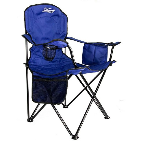 Coleman Camping Lawn Chair W Built In Cooler And Cup Holder Blue