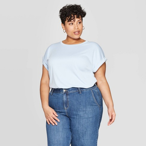 a7c991bb6b1 Women s Plus Size Cuffed Short Sleeve Crewneck T-Shirt - Ava   Viv ...