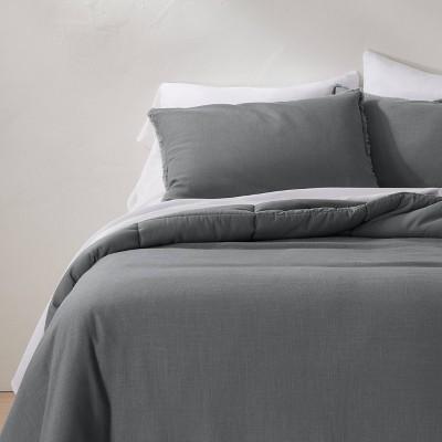 King/California Heavyweight Linen Blend Comforter & Sham Set Dark Gray - Casaluna™