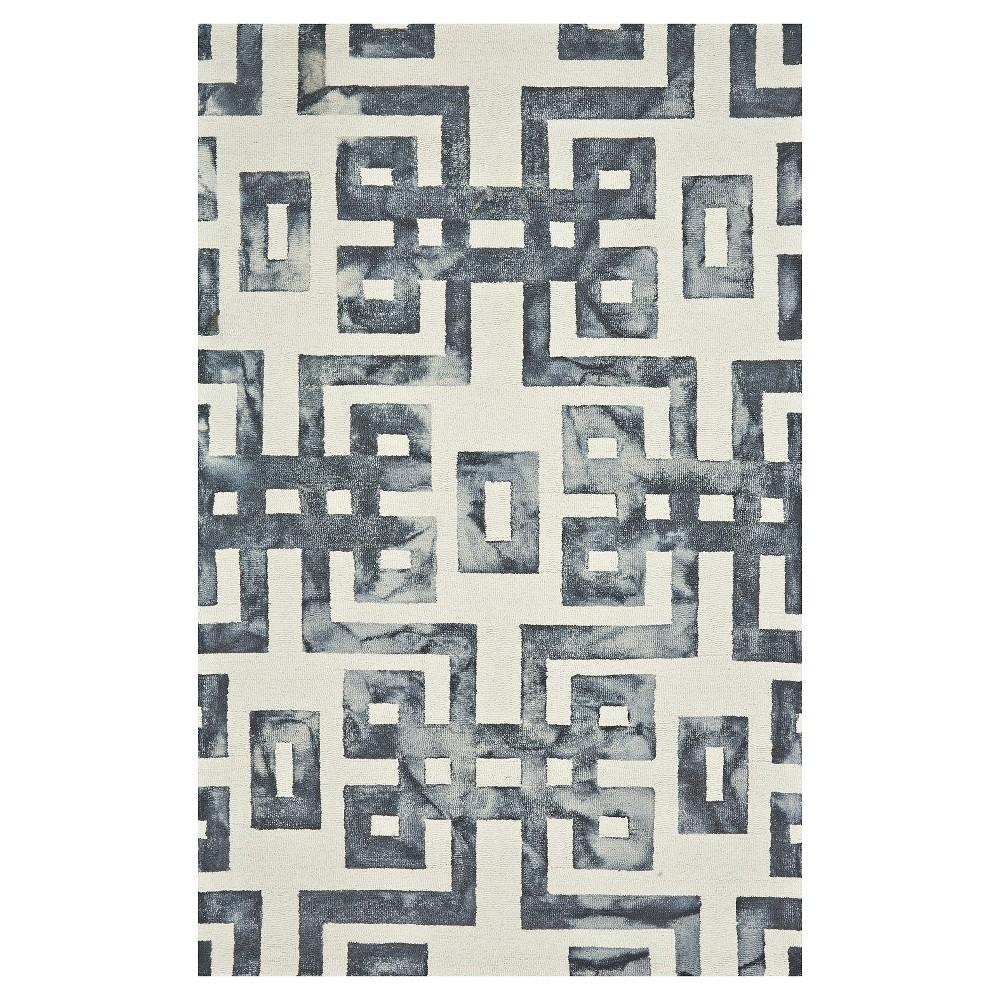 Image of 10'X14' Geometric Hooked Area Rug Black/Gray - Weave & Wander