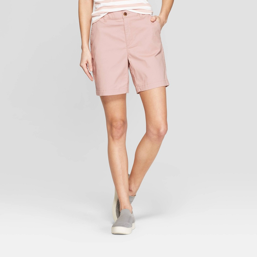 Women's 7 Chino Shorts - A New Day Light Pink 12