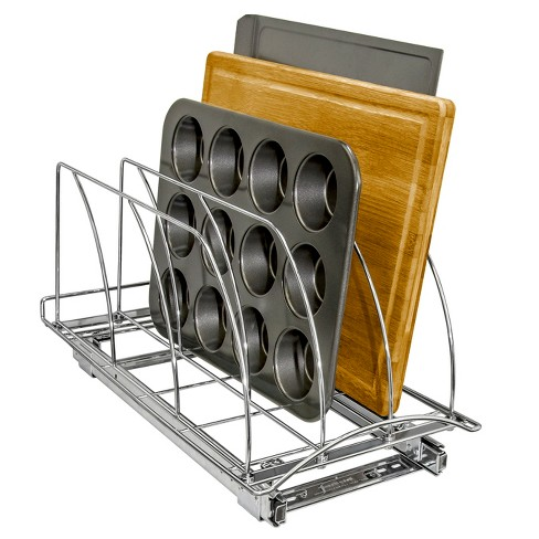 """Lynk Professional Slide Out Cutting Board, Bakeware, and Tray Organizer - Pull Out Kitchen Cabinet Rack - 10"""" wide x 21"""" deep - Chrome - image 1 of 4"""