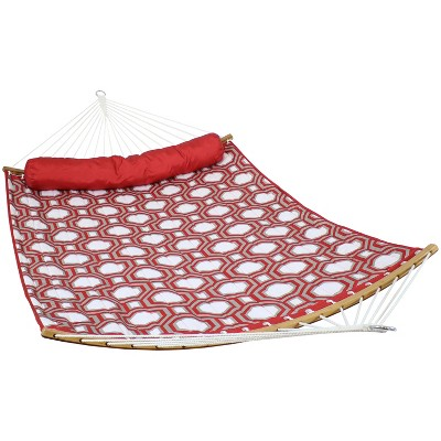 Quilted Hammock with Curved Bamboo Spreader Bars - Red and Gray Tiled Octagon - Sunnydaze Decor