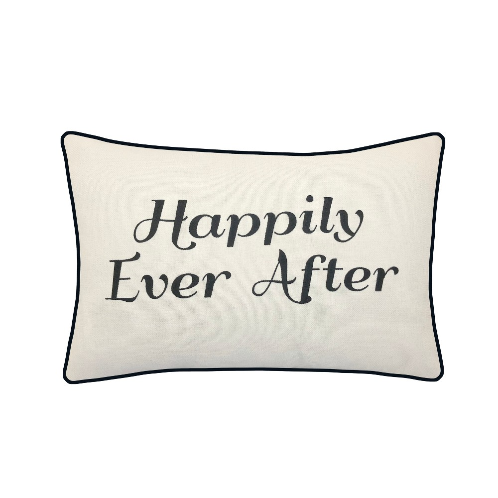 Image of 'Happily Ever After' Poly Velvet Lumbar Throw Pillow Ivory - Edie@Home