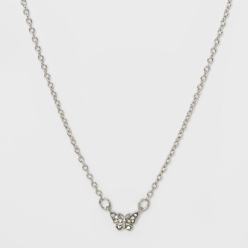Butterfly Charm Necklace - Wild Fable™ Rhodium - image 1 of 2