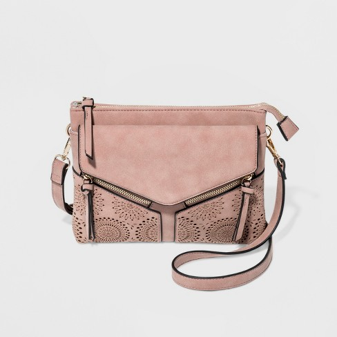 b23c24960d51 VR By Violet Ray Leanna Double Zip Laser Cut Crossbody Bag - Pale Purple