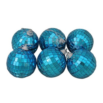 """Northlight Pack of 6 Blue Mirrored Glass Disco Christmas Ball Ornaments 2.5"""" (60mm)"""