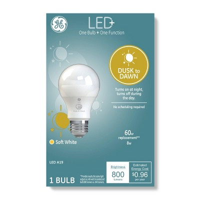 General Electric A19 Dusk to Dawn LED + Light Bulb Clear