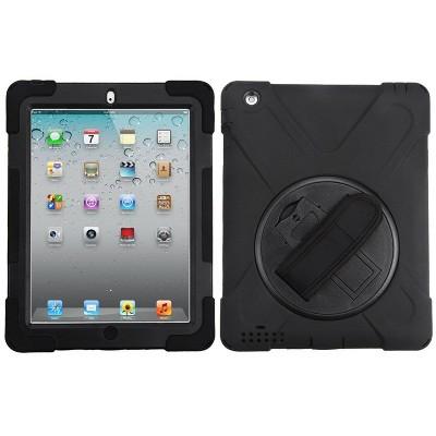 MYBAT For Apple iPad 2/3/4 Black Wristband Hard Rubberized Case Cover w/stand