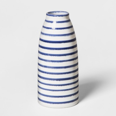 9  x 4  Stoneware Stripped Vase White/Blue - Threshold™