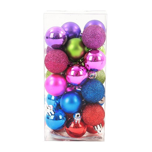 Mini Ball Plastic Christmas Ornament Set Red/Purple/Blue 25ct - Wondershop™ - image 1 of 2