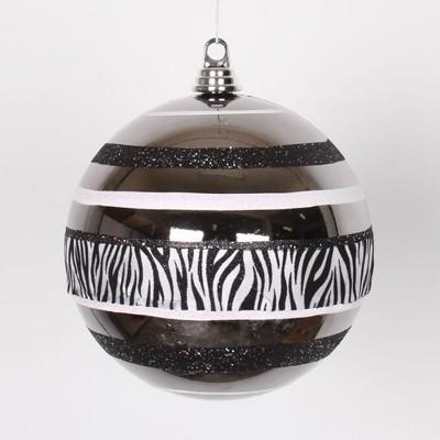 "Vickerman Black and White Zebra Print 2-Finish Shatterproof Christmas Ball Ornament 8"" (200mm)"