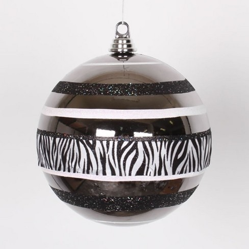 "Vickerman 8"" Diva Safari Zebra Print and Stripes Ball Christmas Ornament - Black/White - image 1 of 1"