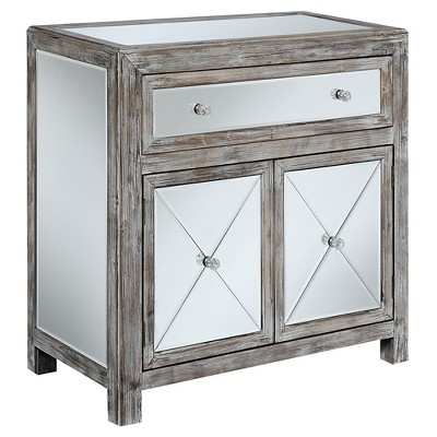 Gold Coast Vineyard Mirrored Hall Table Weathered White/Mirror - Breighton Home