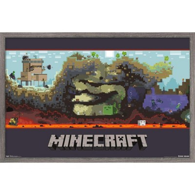 Trends International Minecraft - World Framed Wall Poster Prints