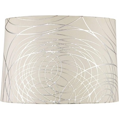 Springcrest Off-White White Drum Lamp Shade Modern Silver Circles 15x16x11 - Spider