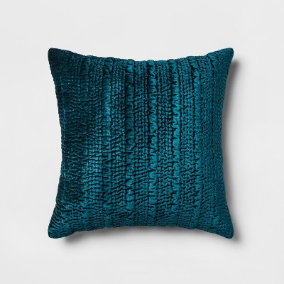 Hand Quilted Velvet Oversize Square Throw Pillow Blue - Opalhouse™