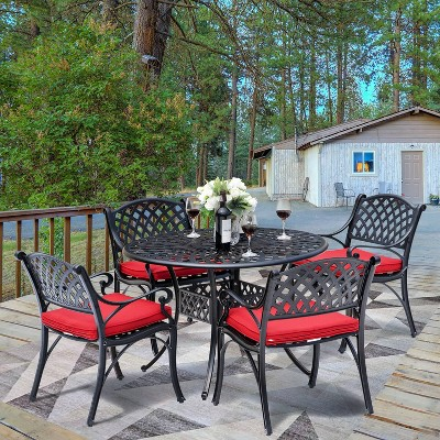 5pc Cast Aluminum Dining Set with Red Cushions - Nuu Garden