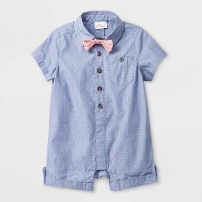 Boys' Woven Dobby Pindot Romper with Bowtie - Cat & Jack™ Blue 24M