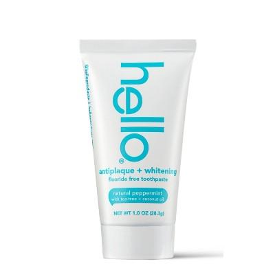 hello Antiplaque + Whitening Fluoride Free Toothpaste - Trial Size - 1oz