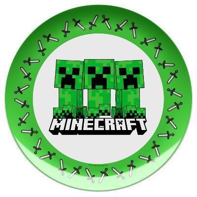 Minecraft 10  Melamine Kids Dinner Plate Green/White - Zak Designs