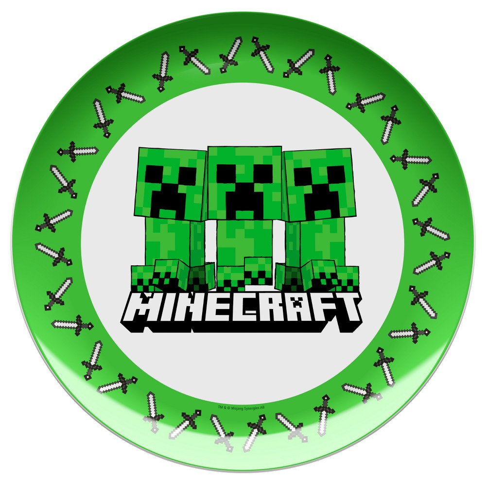 Minecraft 10 Melamine Kids Dinner Plate Green/White - Zak Designs, Multi-Colored