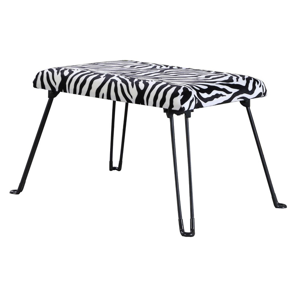 Image of Backless Seat With Foldable Legs - Black - Ore International