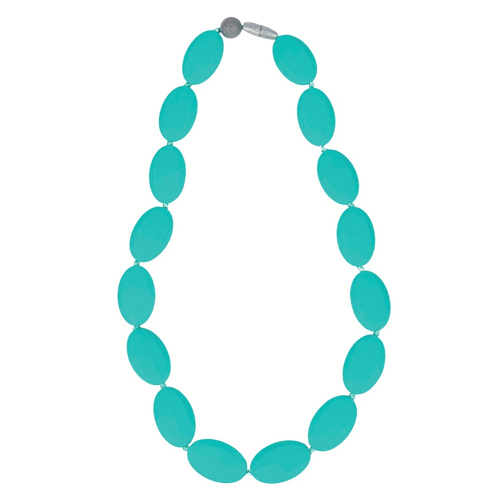 Itzy Ritzy Teething Happens Chewable Mom Jewelry - Pebble Bead Necklace - Turq, Turquoise
