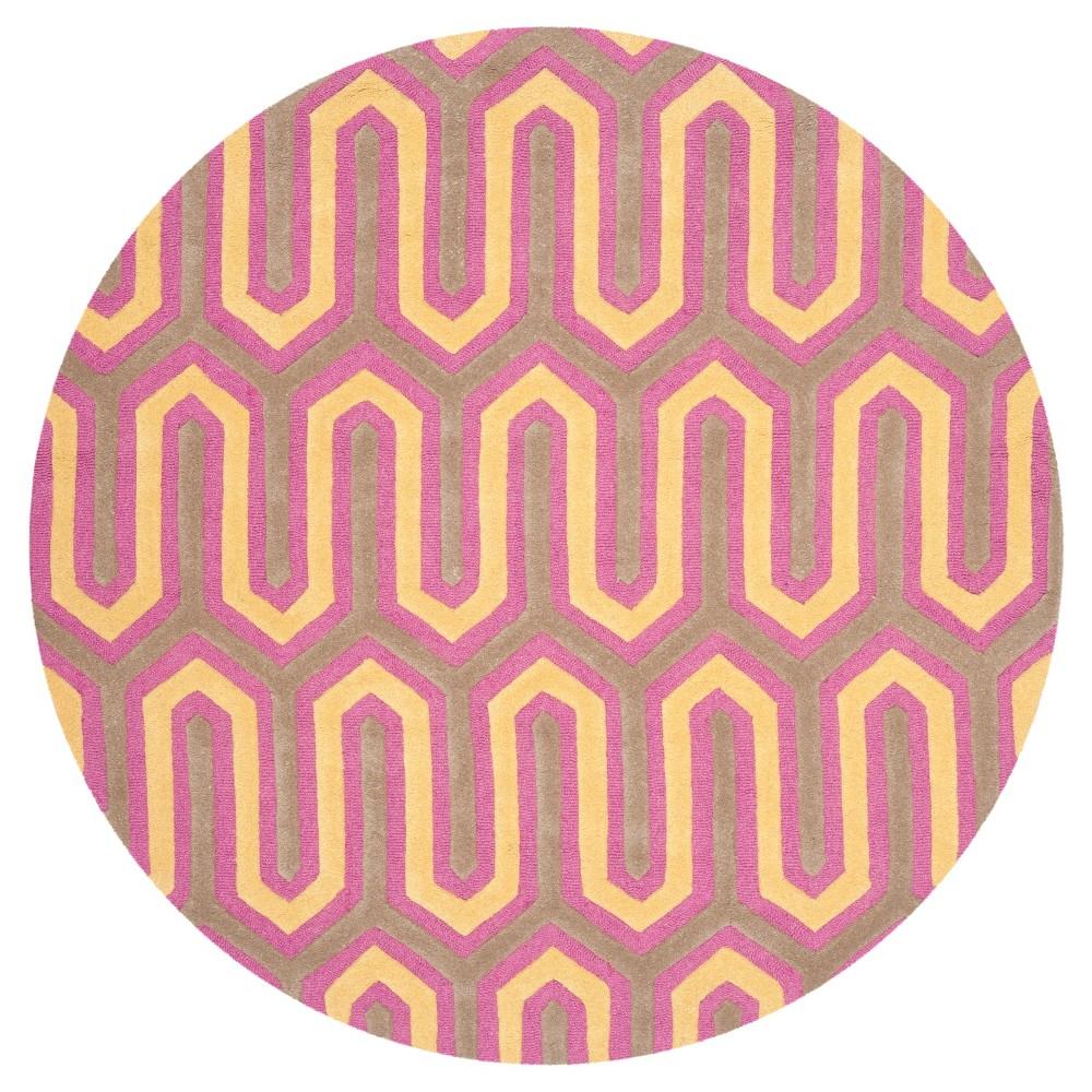 Aveline Textured Rug - Fuchsia/Gray (Pink/Gray) (6' X 6' Round) - Safavieh