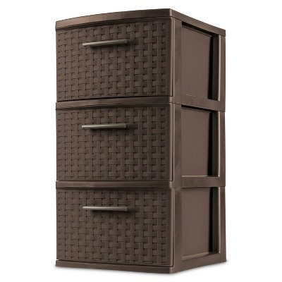 Sterilite 3 Drawer Medium Weave Tower Brown