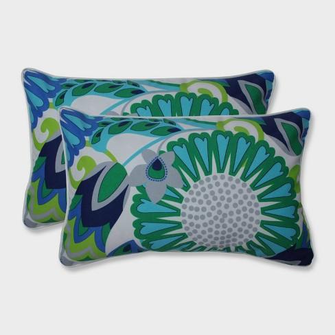 2pk Sophia Rectangular Throw Pillows Green - Pillow Perfect - image 1 of 1