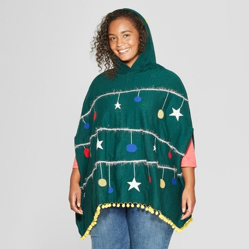 Womens Plus Size Christmas Tree Poncho Well Worn Juniors Green