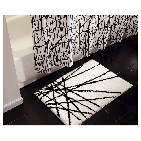 Abstract Bath Rug 21x34 Black White Idesign Target